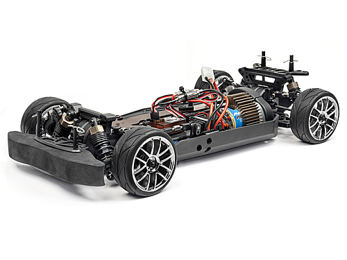 Detail chassis Voiture RC Piste Strada TC 1/10 4x4 Brushed Bleue Complète
