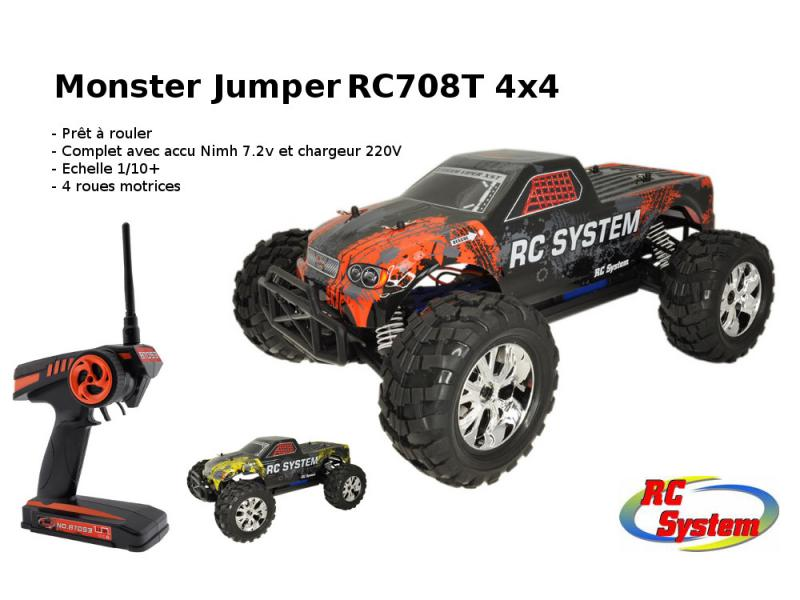 Detail Produit RC System RC708T Monster Truck Jumper 4x4 Brushed complet (RTR avec radio accus et chargeur)