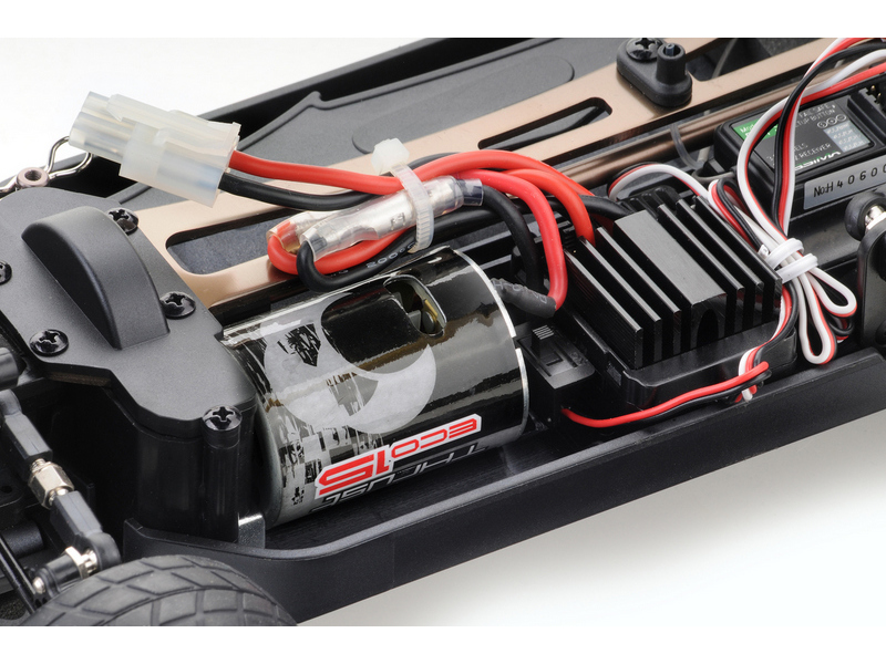 Detail chassis Absima ATC3.4 Brushed avec radio CR2S 2.4 ghz (derniere pièce)