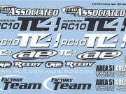 Team Associated 31070 tc4 decal sheet, black and white