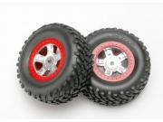 roues montees collees sct jantes rouges (2) Traxxas