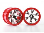 "Traxxas 7271 jantes geode 2.2"" chromees rouge (2)"
