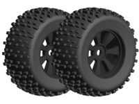 Corally C-00180-378 Offroad 1/8 monster truck tires gripper glued on black rims 1 pair